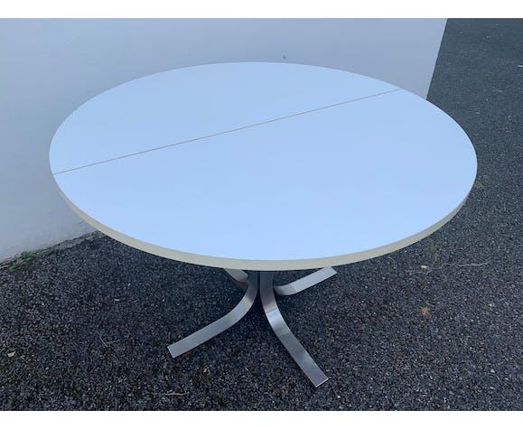 Table basse ronde blanche relevable et extensible Tecno Osvaldo Borsani 1970