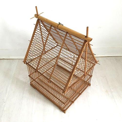 Cage à oiseaux en bambous vintage 60