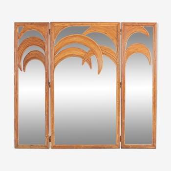Triptych mirror of Vivai del Sud Tropicalist, 1970s
