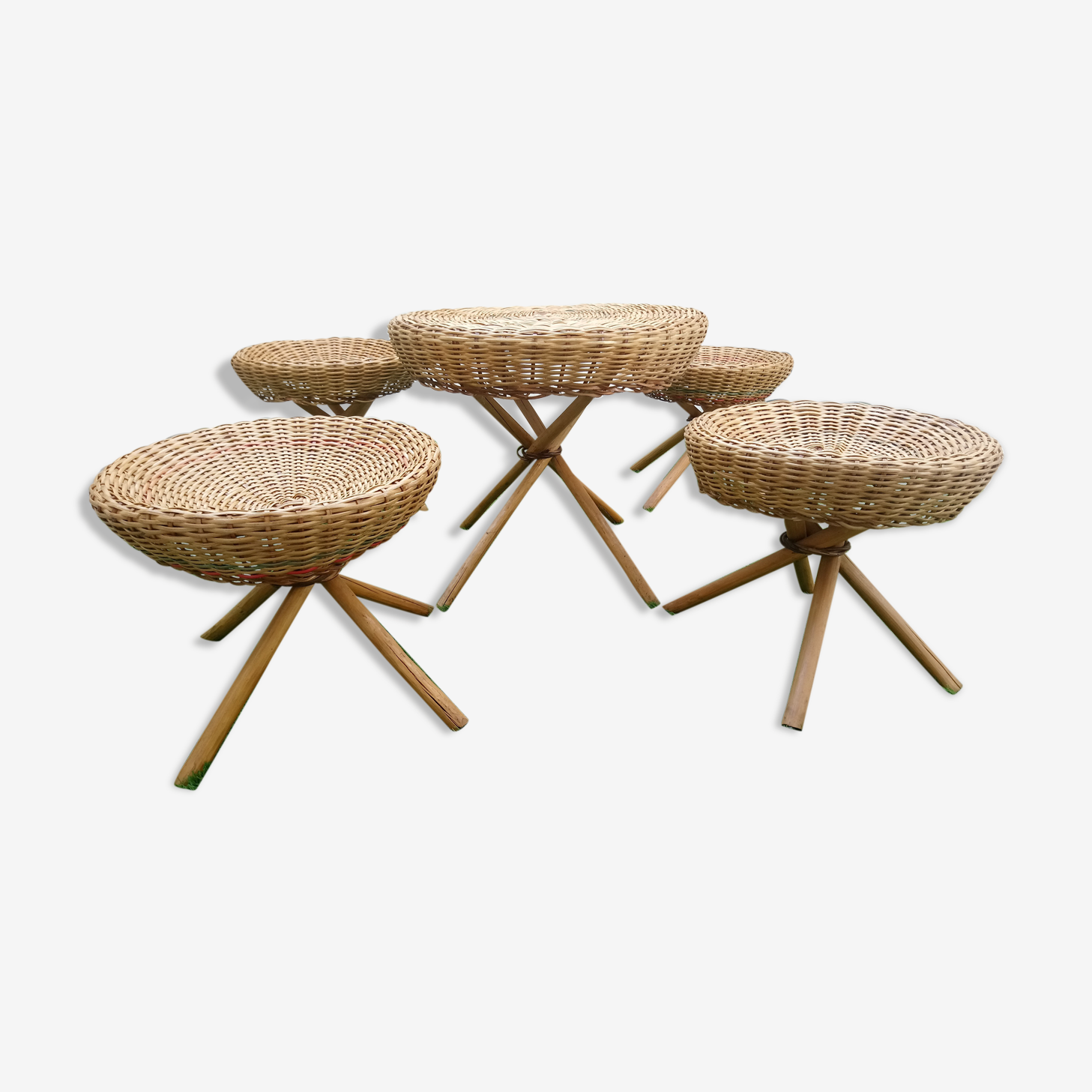 Summer Lounge 4 stools and coffee table Wicker of the 1960s