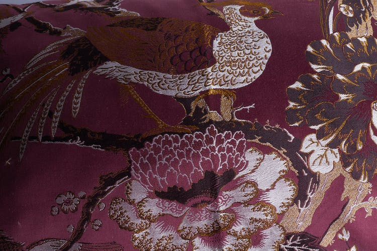 Bordeaux cushions bird motifs
