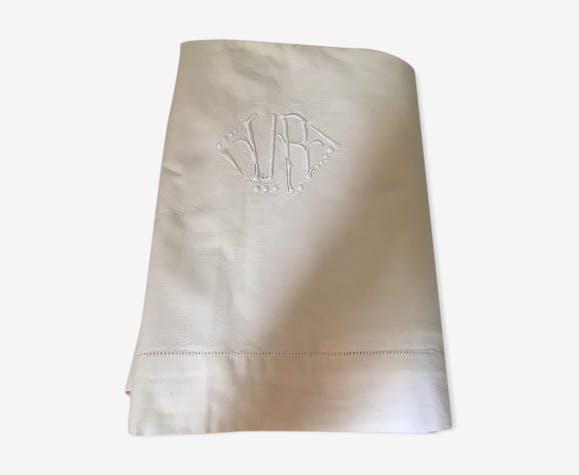 Drap ancien en coton blanc monogramme V R