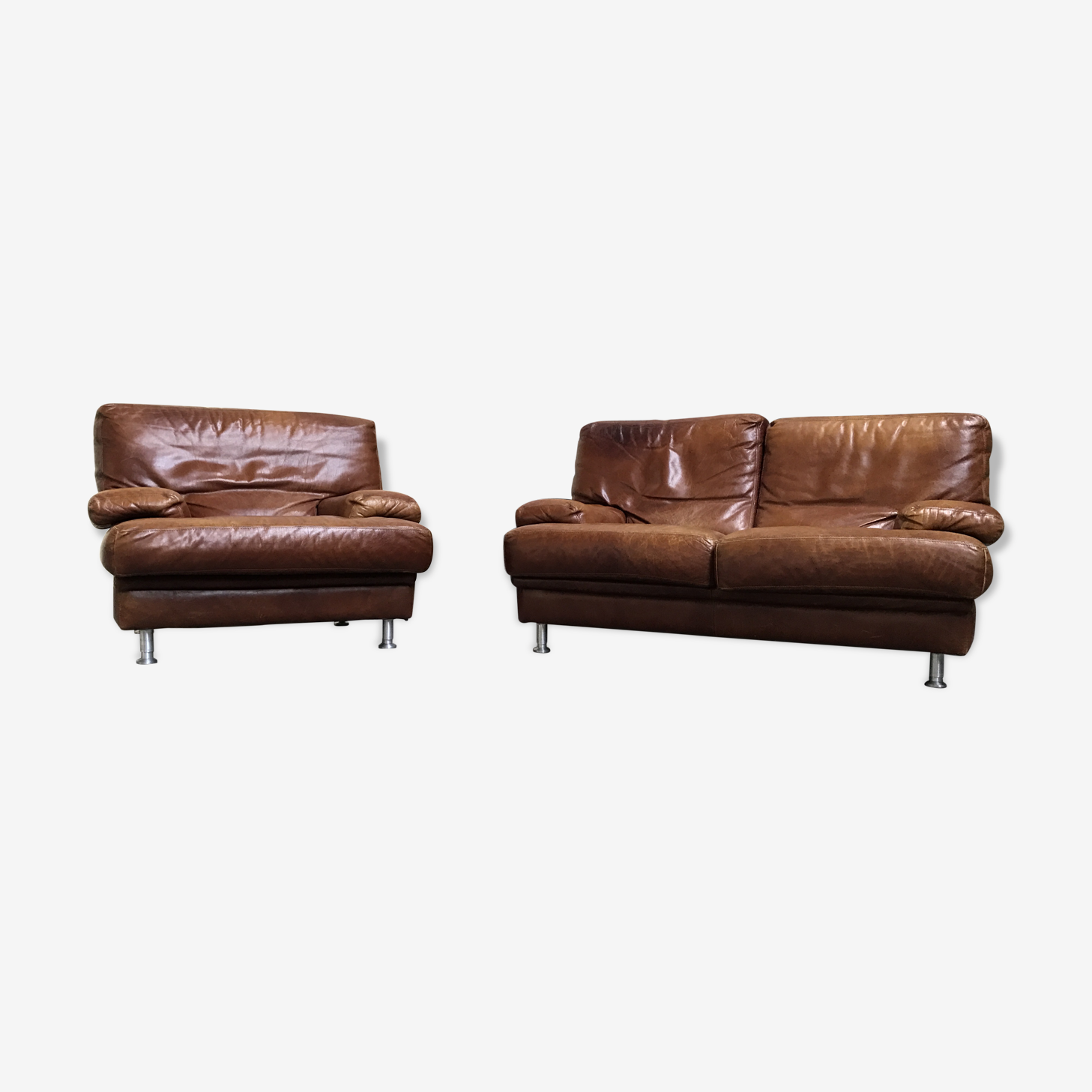 Canape fauteuil cuir roche bobois vintage cuir marron vintage