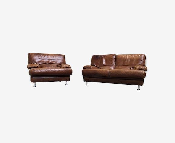canape fauteuil cuir roche bobois vintage cuir marron. Black Bedroom Furniture Sets. Home Design Ideas