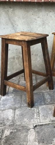 Tabouret en bois 1950 rénové