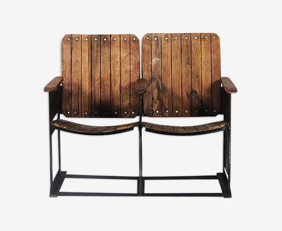 Admirable Theatre Bench 2 Seats Wood Wooden Vintage Iqn1X1A Caraccident5 Cool Chair Designs And Ideas Caraccident5Info