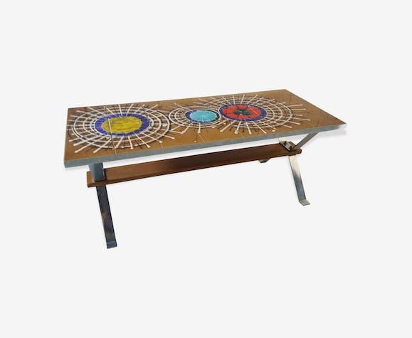 table basse vintage des ann es 70 pop art c ramique. Black Bedroom Furniture Sets. Home Design Ideas