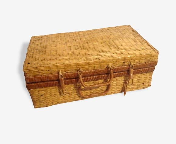 panier picnic ancien grand mod le ann e 60 osier tress vintage rotin et osier bois couleur. Black Bedroom Furniture Sets. Home Design Ideas