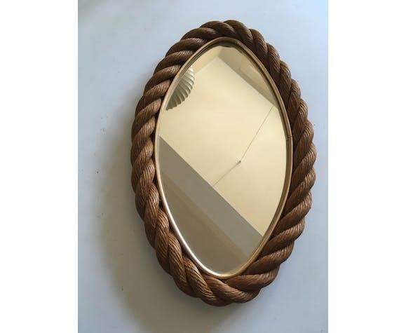 Miroir en corde annés 60 - 21x41cm