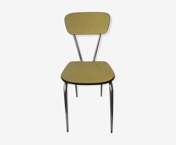 chaise jaune en formica pieds compas formica jaune. Black Bedroom Furniture Sets. Home Design Ideas