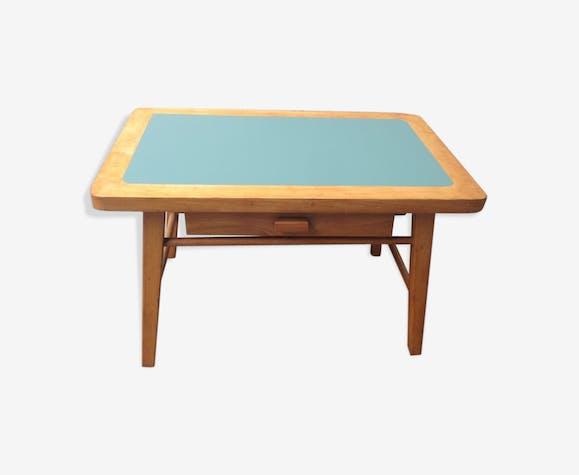 Bureau pour enfant baumann bois matériau vert vintage yekol80
