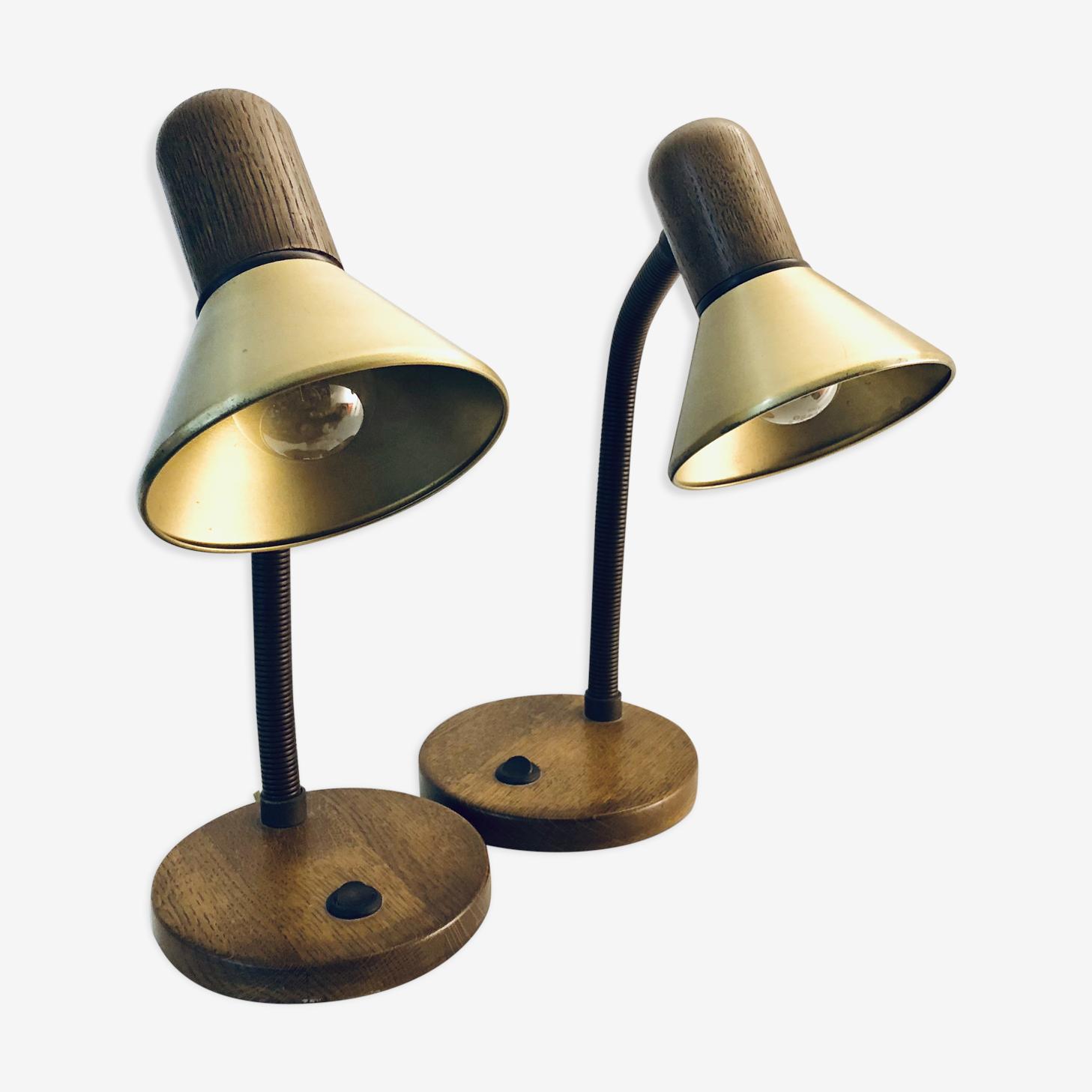 Paire de lampe de table en laiton années 70
