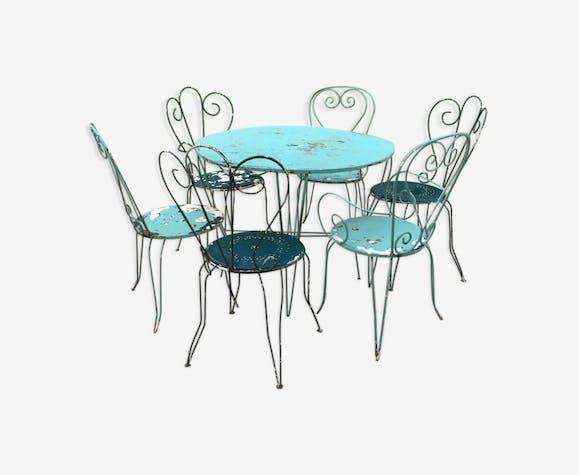 Salon de jardin fer forgé patiné bleu vert 3 chaises et 3 fauteuils ...