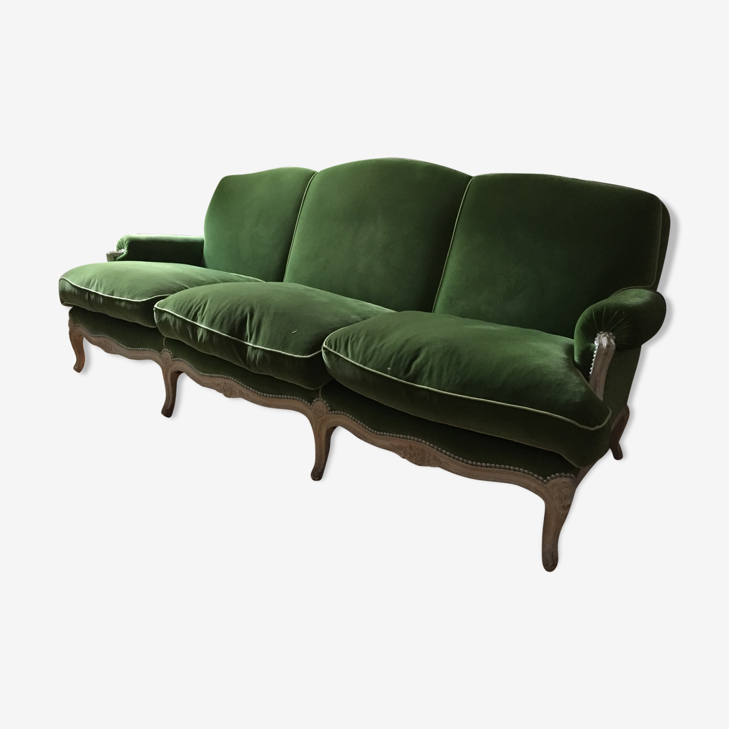 Canapé style Louis XV vert pomme