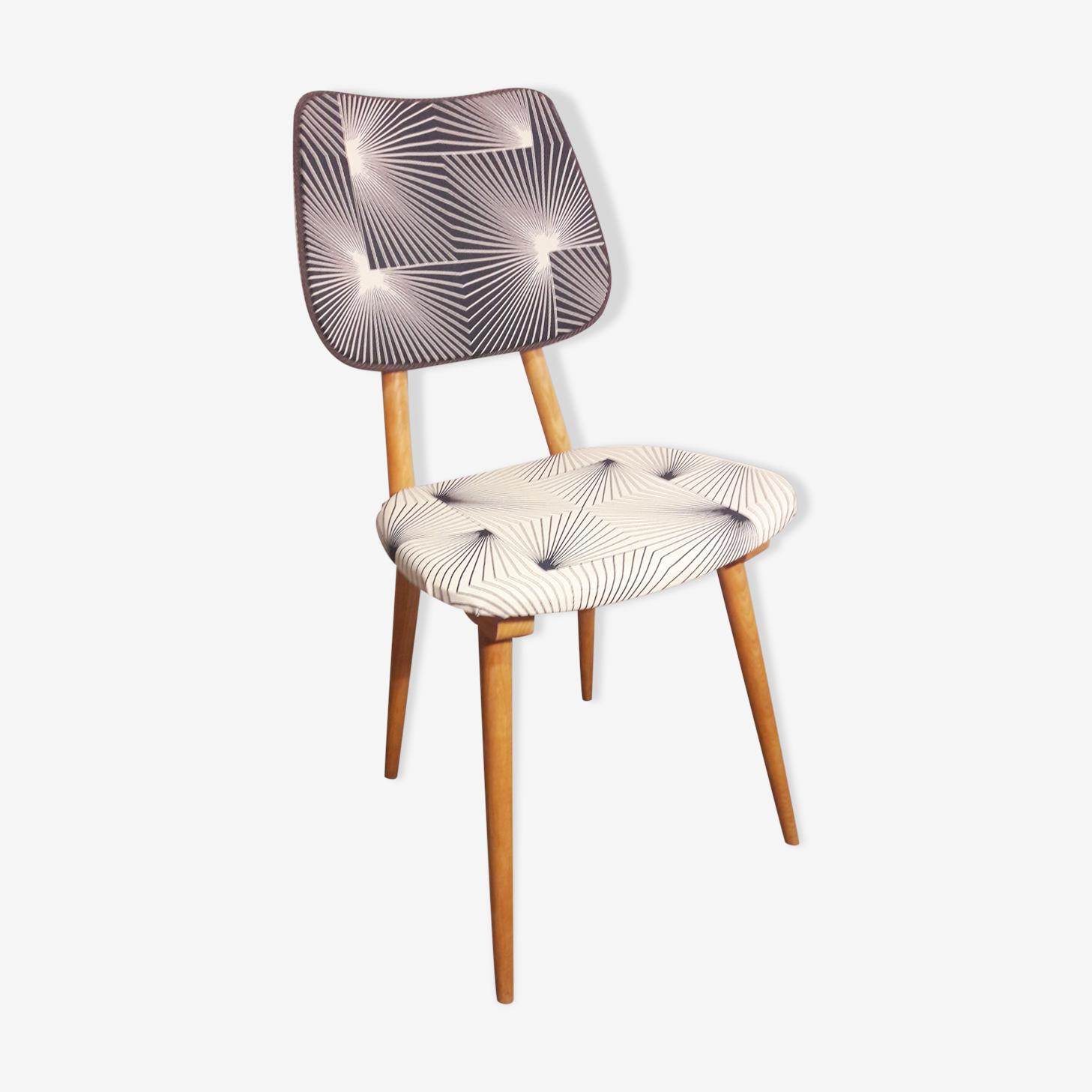 Chaise pieds compas tissu motifs graphique