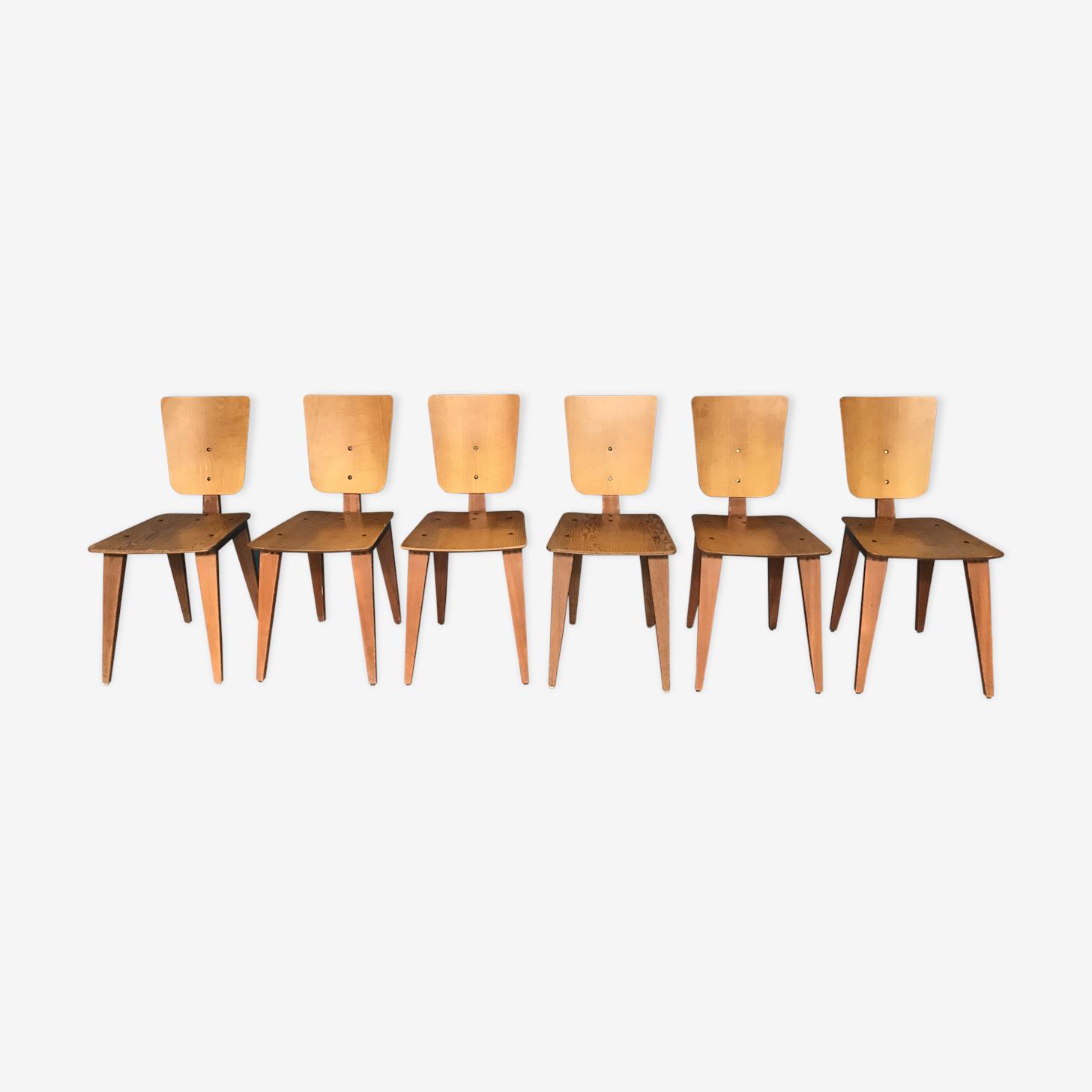 Set 6 chaises par André Sornay