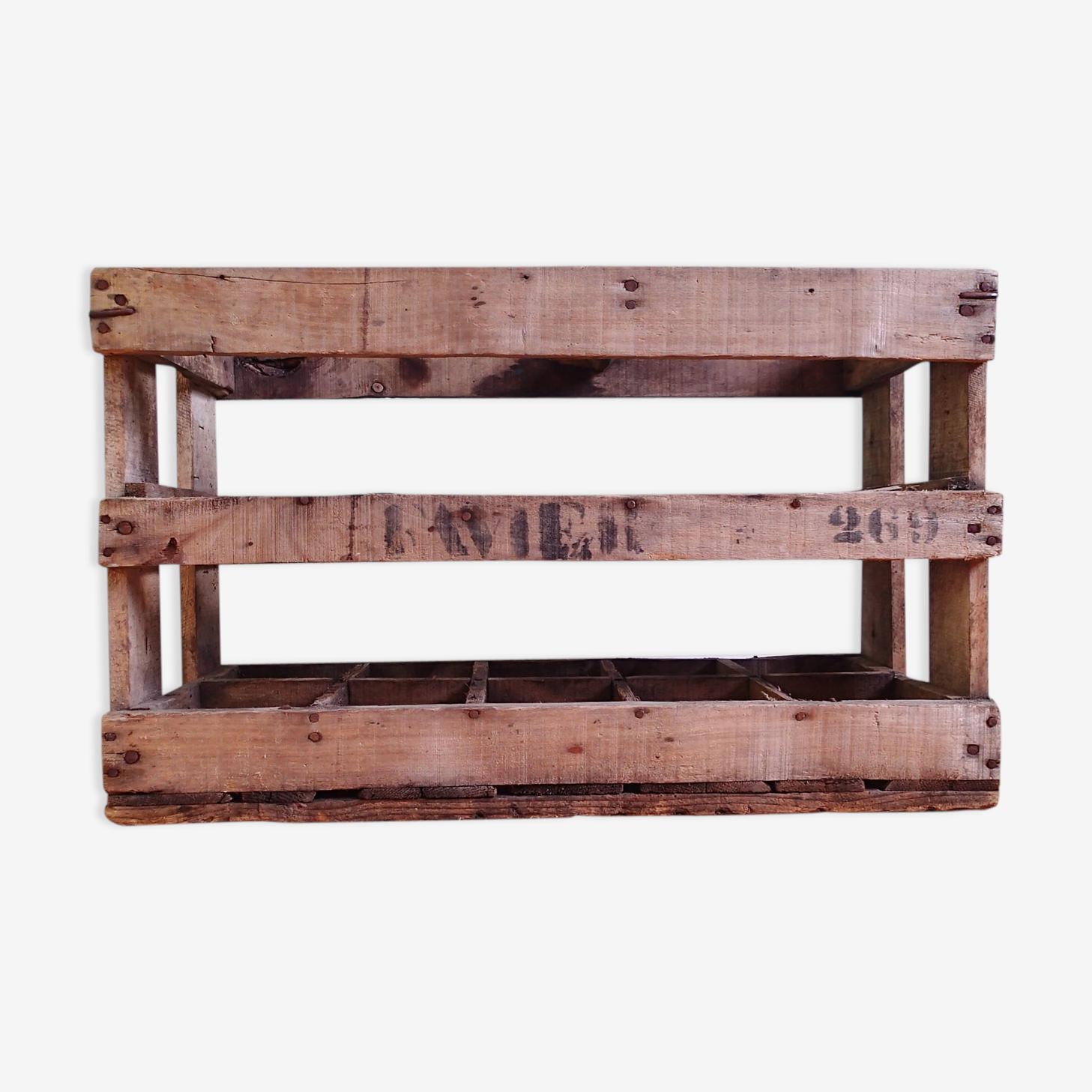 Casier caisse panier porte bouteilles en bois ancien