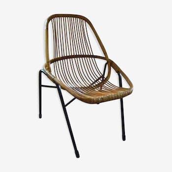 Chaise en rotin avec pieds métal des années 60