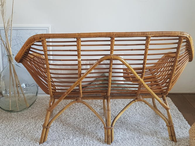 2 seater rattan bench