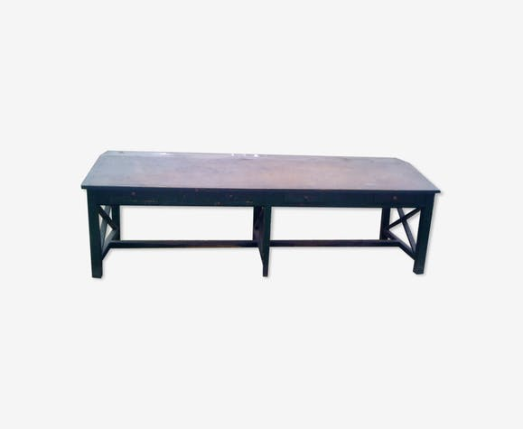 Solid wood factory table, late 19th