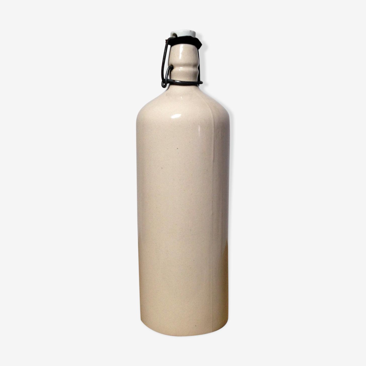 White glazed stoneware bottle