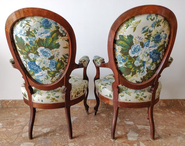 Paire fauteuils Louis-Philippe acajou massif floral