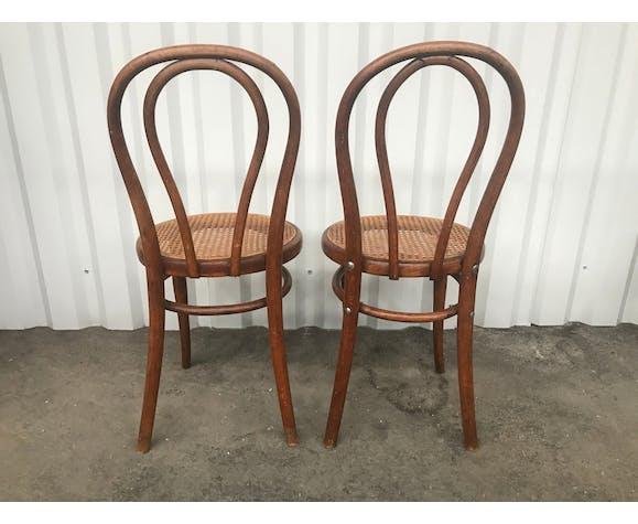 Paire de chaises bistrot Thonet en cannage
