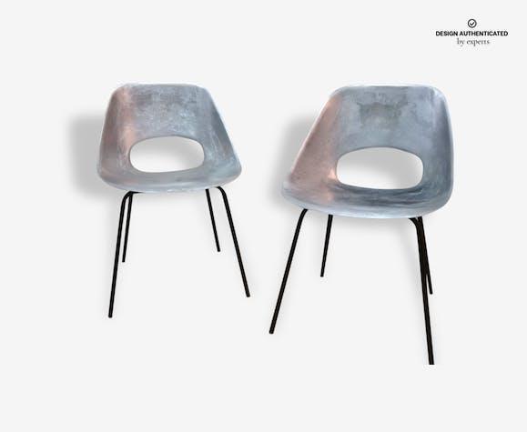 paire de chaise tulipe aluminium pierre guariche édité par