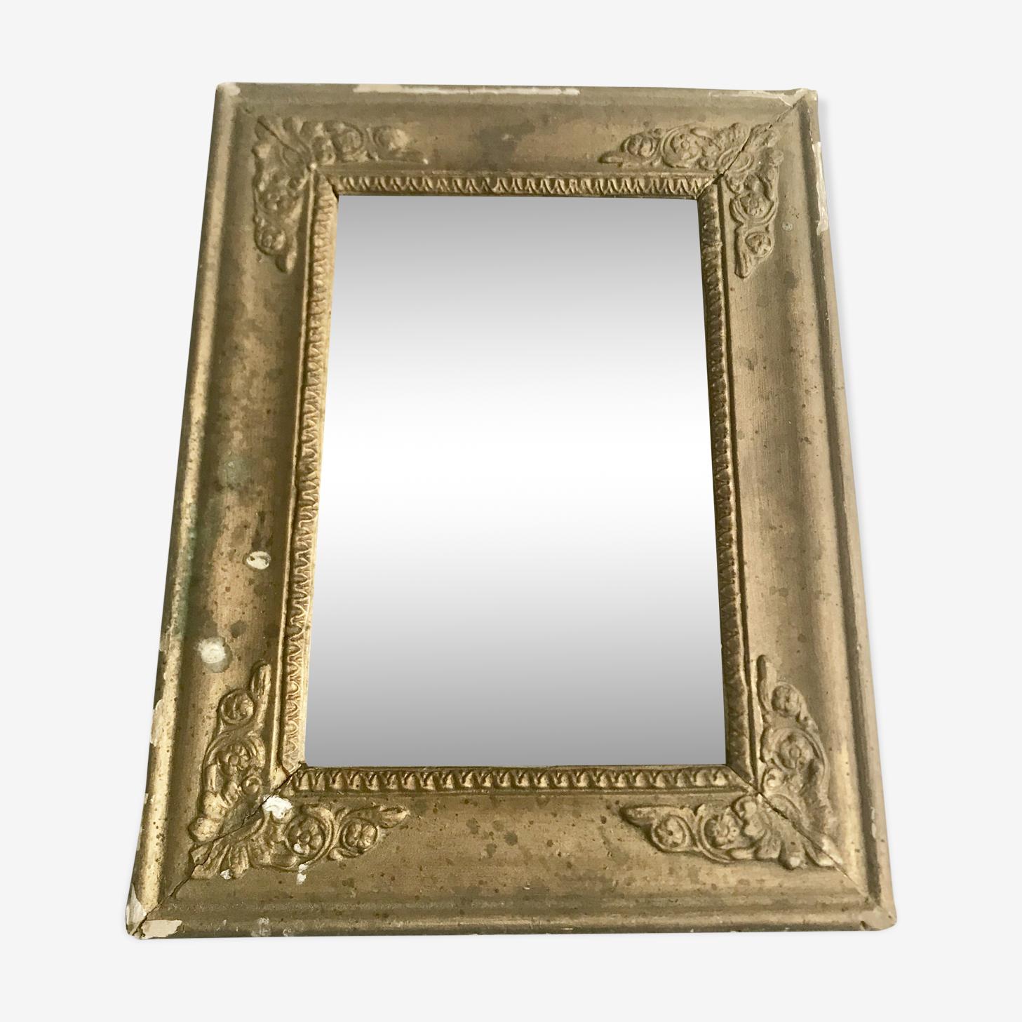 Miroir doré ancien d'époque Empire 30x20cm