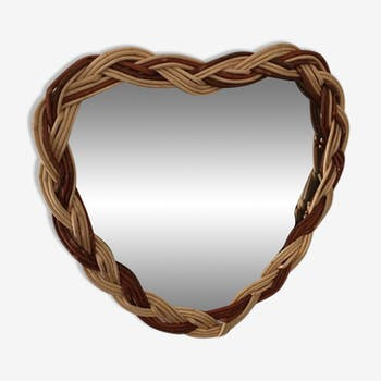 Heart shaped mirror two-tone braided wicker