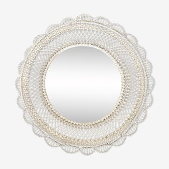 White rattan mirror from the 60s and 70s - 45cm