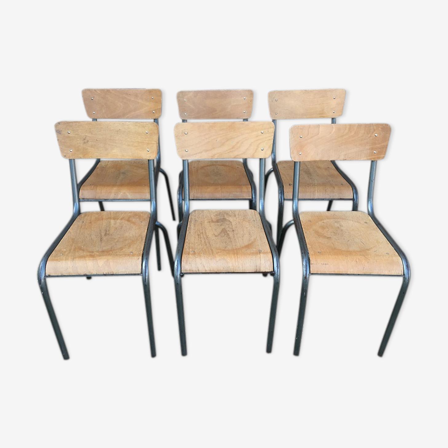 Lot de 6 chaises scolaire