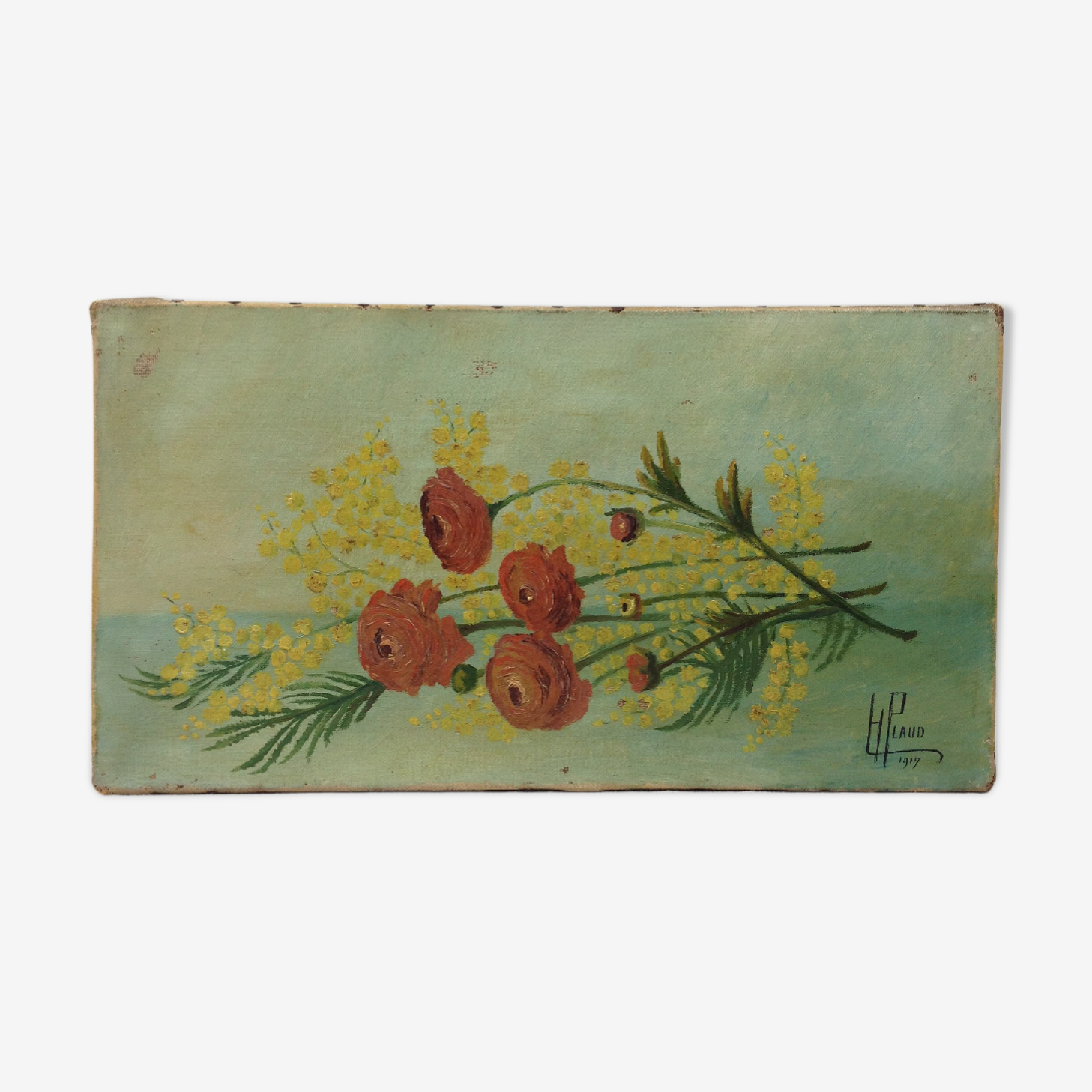 Tableau ancien fleurs coupées signé 1917