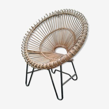 Design sun chair in rattan and black metal 50s