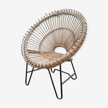 Fauteuil soleil design en rotin et metal noir années 50