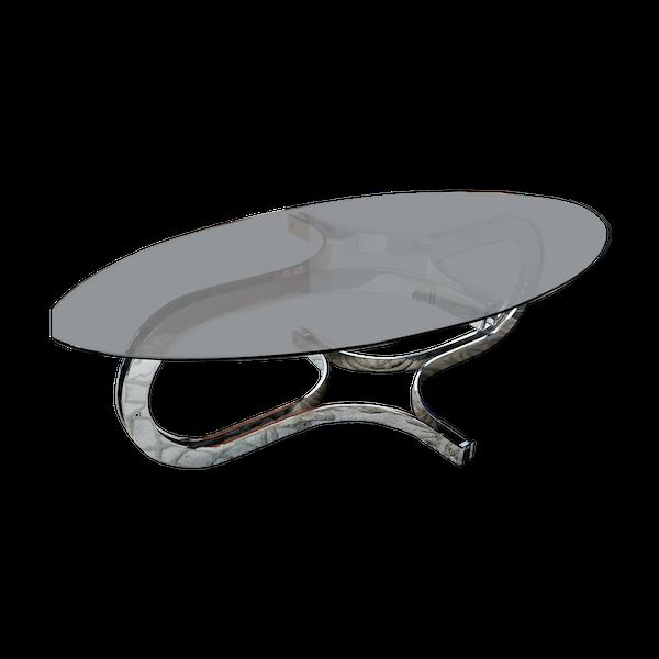 Table basse métal chromé et plateau de verre fumé ovale