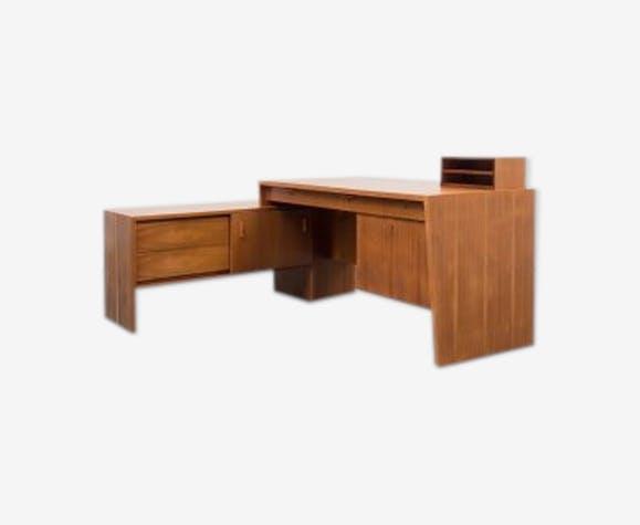 Bureau années 50 en forme de l noyer bois matériau bois