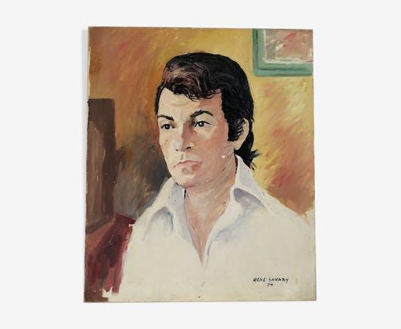 Portrait d'homme signé et daté 1974