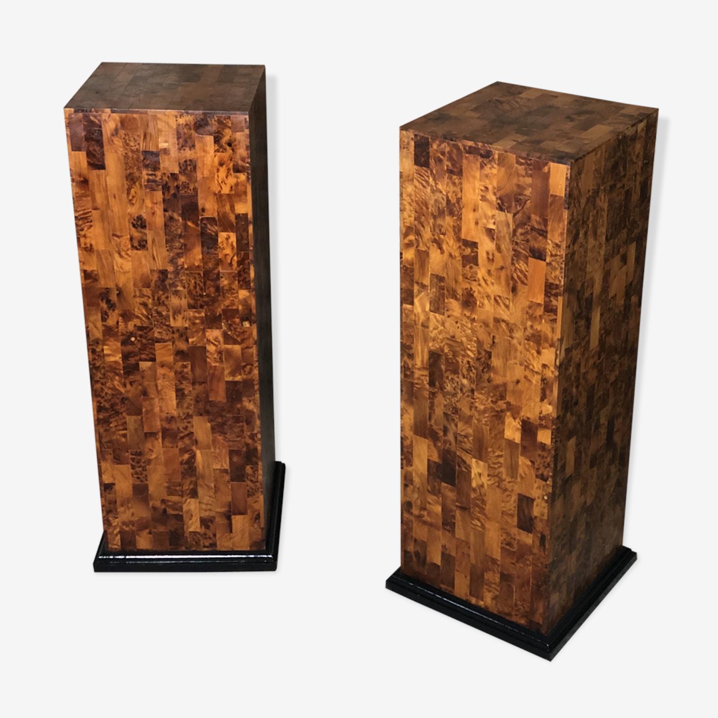 Colonnes art déco marqueterie cubes ronce de noyer