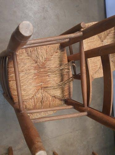 Lot sept chaises bois paillées