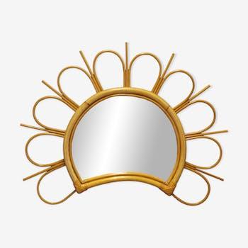 Miroir soleil en rotin 57cm