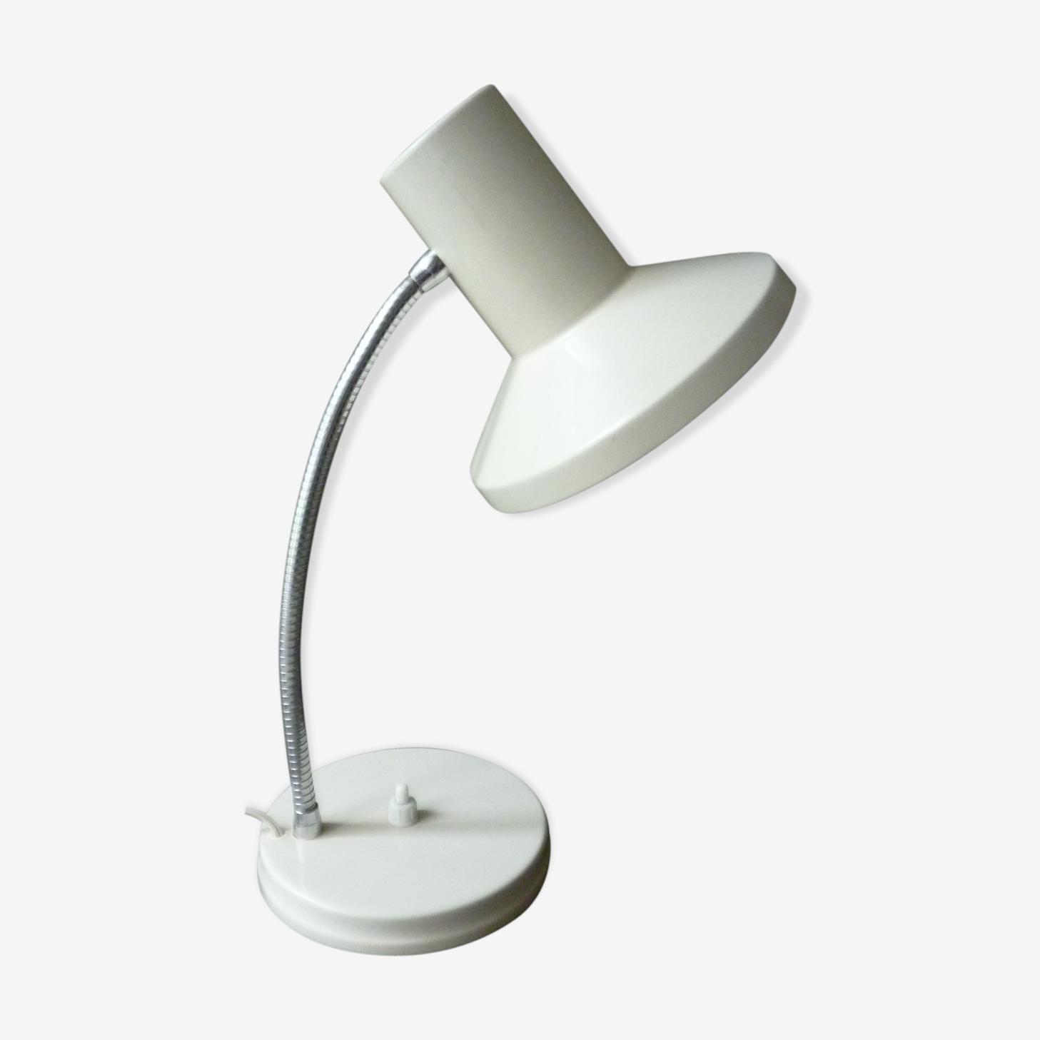Lampe en métal blanc avec bras flexible des années 50