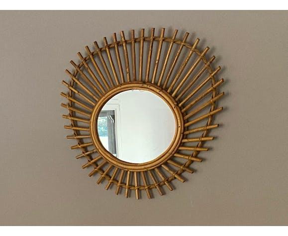 Miroir soleil en rotin type ORTF 60x50cm 1960