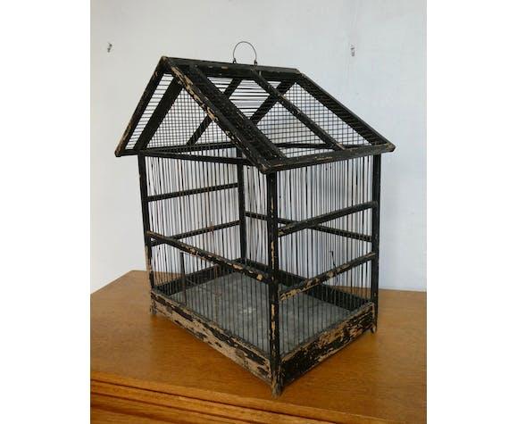 Cage à oiseaux en bois, patine noire d'origine, début XXème