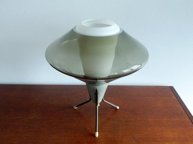 Lampe de table en verre et trépied en métal vintage, années 1960