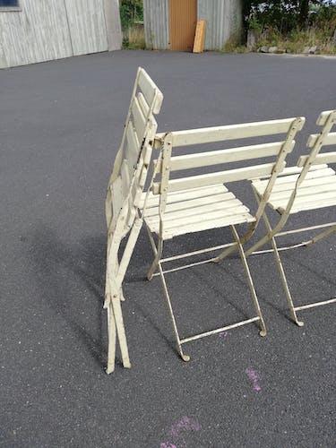 Série de 3 chaises d extérieurs pliantes anciennes jardin vintage