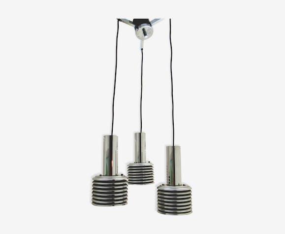 Suspension 3 lumières en cascade vintage années 70