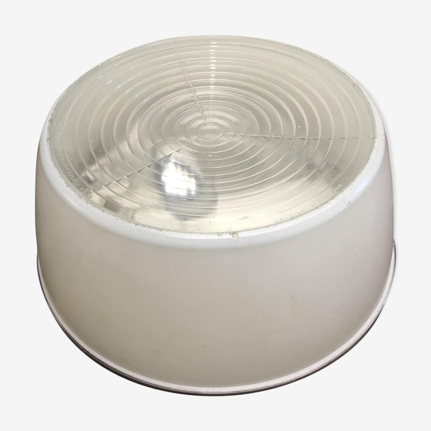 Lampe applique plafonnier XXL verre Holophane France vintage 60
