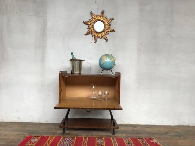Bar vintage en chêne 1950 metal et bois
