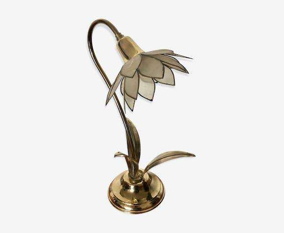 Lampe Fleur En Laiton Et Nacre Vintage 1970 Laiton Dore